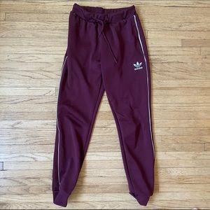 Burgundy / Maroon Adidas Track Pants